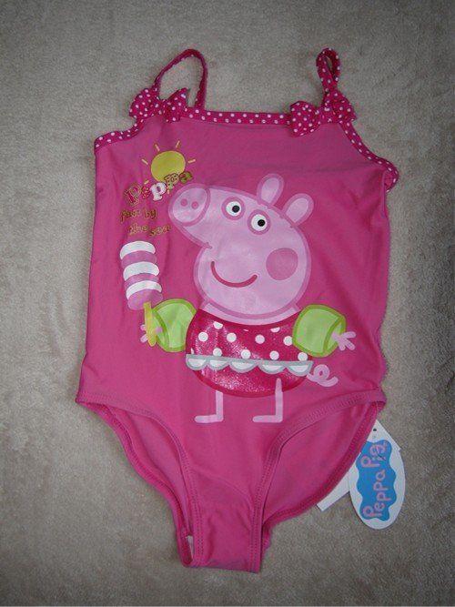 Peppa Pig Pnk 1pc Girls Swimsuit Swim Bathing Suit Sz 5