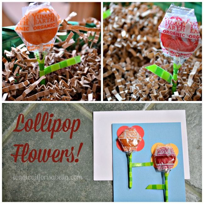 Spring lollipop flowers and handmade card flower easter and easter baskets negle Image collections