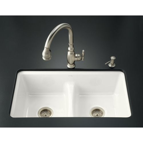 Kohler White 7 Hole Double Basin Cast Iron Undermount Kitchen Sink