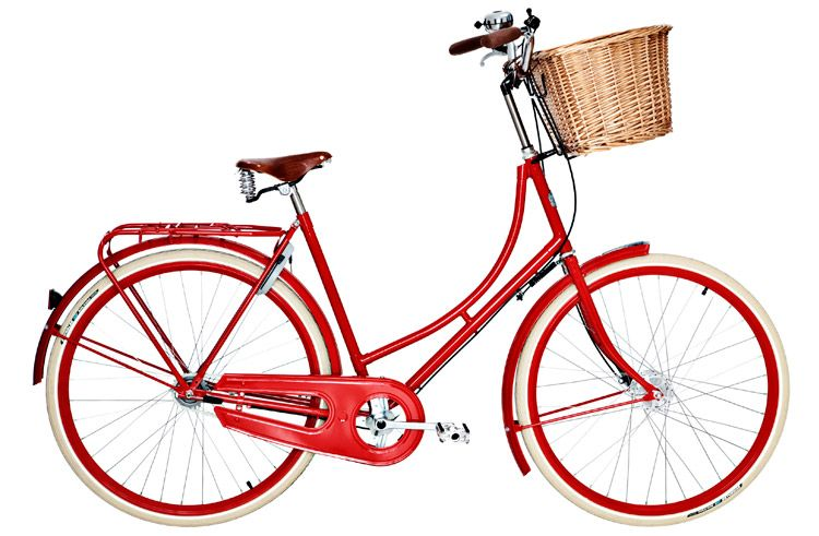 Classic Red Bike With Basket Love Dutch Bike Bicycle Red Bicycles