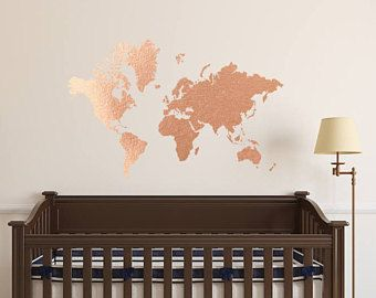 Copper World Map   Wall Decal // Copper Office Decor / Office Wall