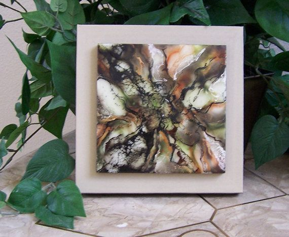 Encaustic painting on double canvas browns by glendabaileydesigns