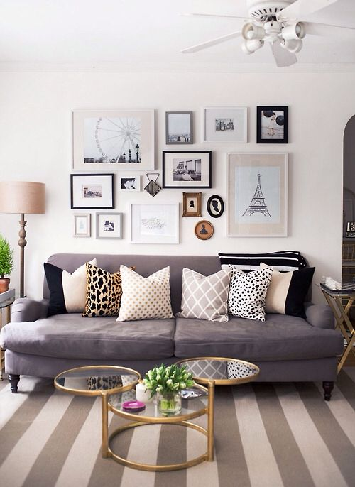 interior design living room: gold brass metal circular round coffee table,  wall art, grey sofa lounge, throw cushi… | Room inspiration, Home living  room, Room decor