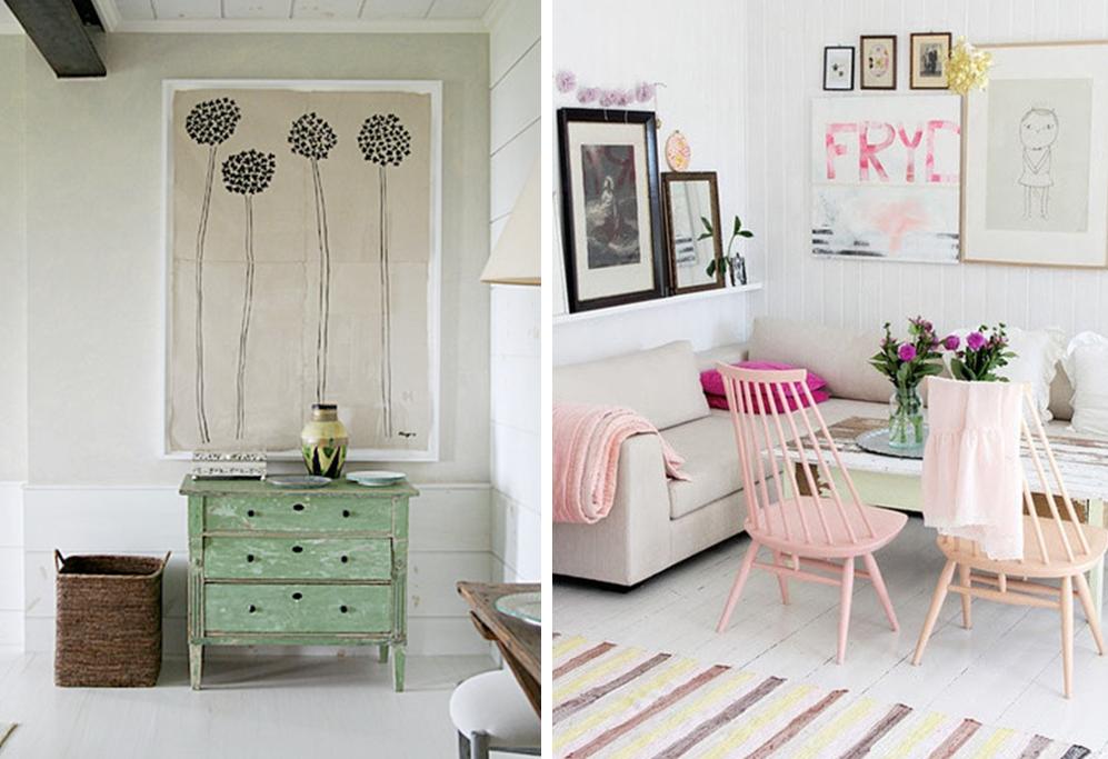 salon pastel inspiration dco ide chaise rose style scandinave meuble vert menthe accessoires - Salon Scandinave Rose