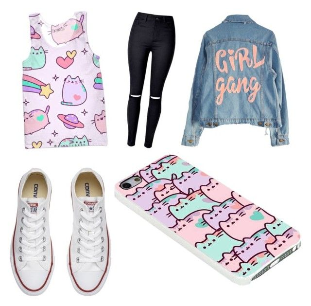 """""""Untitled #13"""" by georgialynn2323 on Polyvore featuring Pusheen, High Heels Suicide and Converse"""