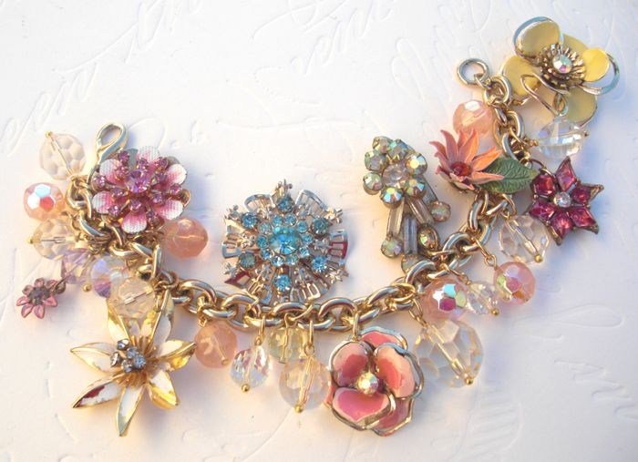 Vintage Earrings Made Into Bracelet Mothers Brooches