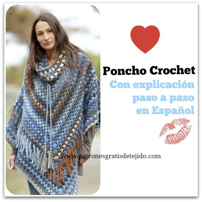 poncho crochet con patrones … | Crochet Capas Ponchos yMas | Pinte…
