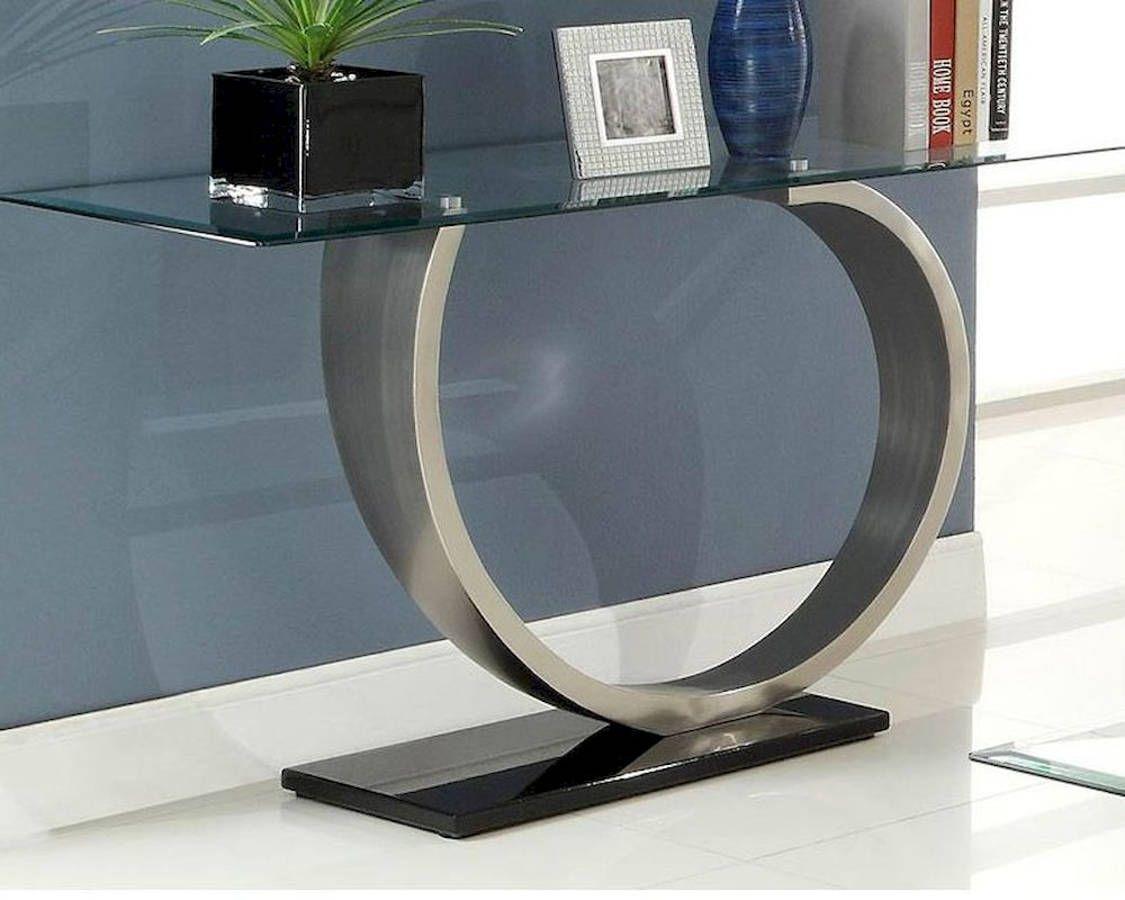 Silvera Modern Black Silver Chrome Glass Top Sofa Table Modern