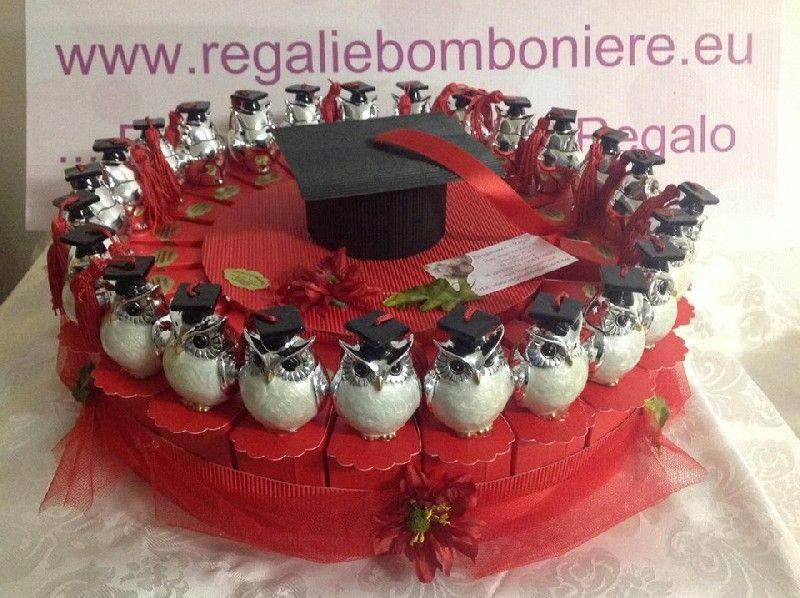 Regali e Bomboniere - Dettaglio prodotto - TORTA BOMBONIERA - GUFETTO GUFO  LAUREA MADREPERLA E ARGENTO c57866591fc1