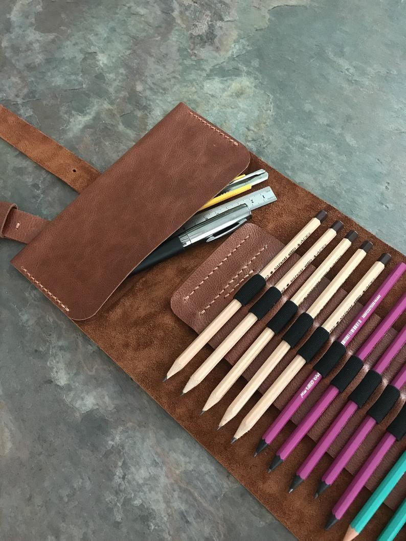 Handmade pencil holder leather pencil case pen case