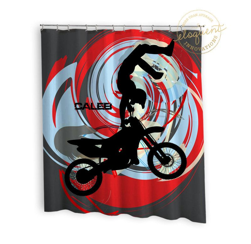 Kids Sports Shower Curtain - Motocross, Grey, Red, Blue - Sports ...