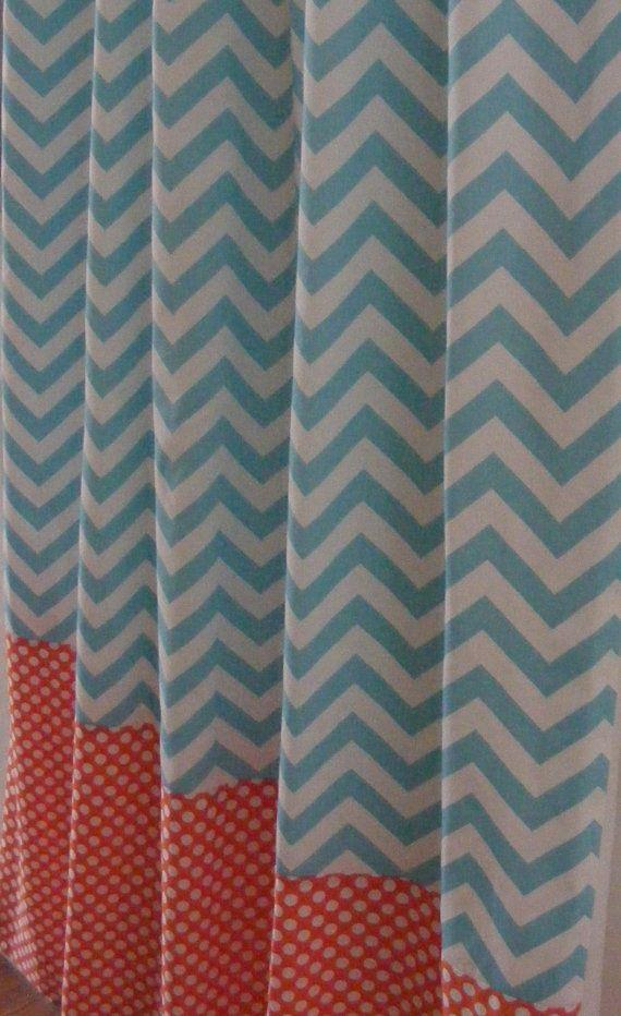 Ready To Ship Nursery Window Treatments Drapery Curtain Panels Fully Lined Aqua Chevron Orange Dots