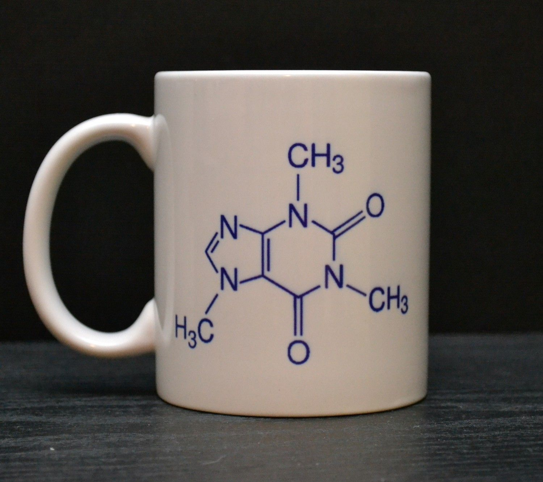Caffeine Molecule Coffee Mug - Unique Coffee Mugs for Scientists and Science Teachers $15 (Little Lee)