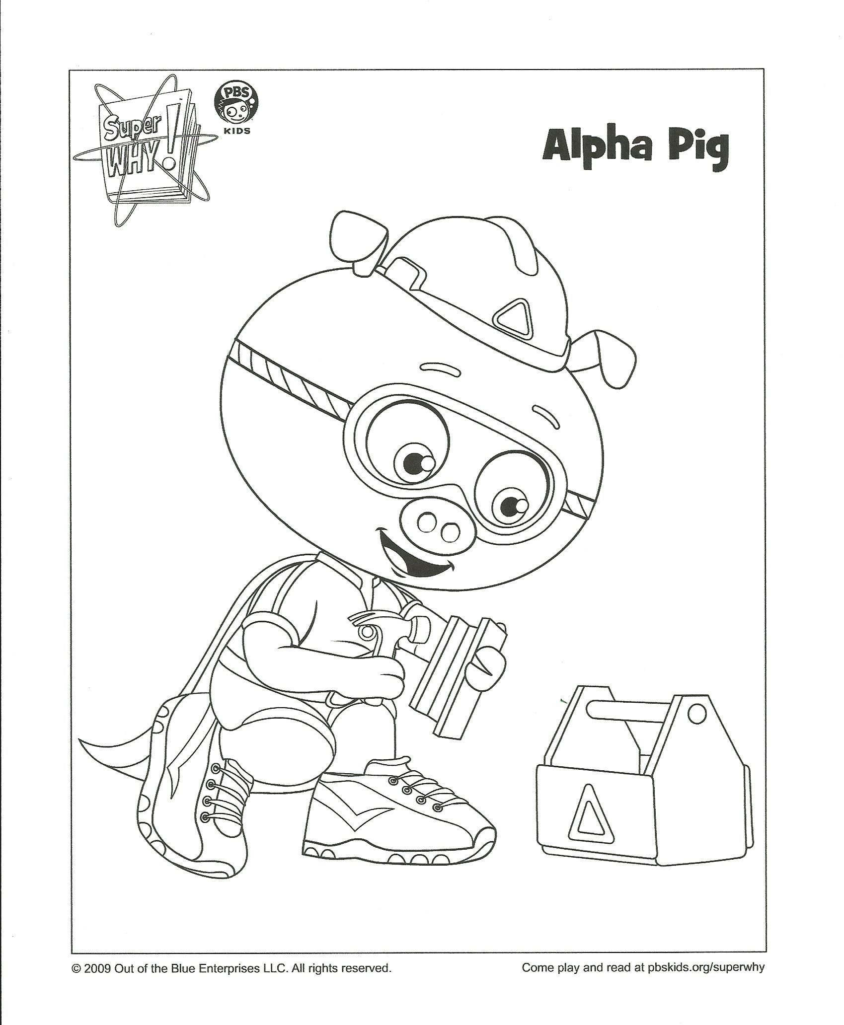 Alpha Pig Coloring Page  Super why, Coloring pages for boys, Kids