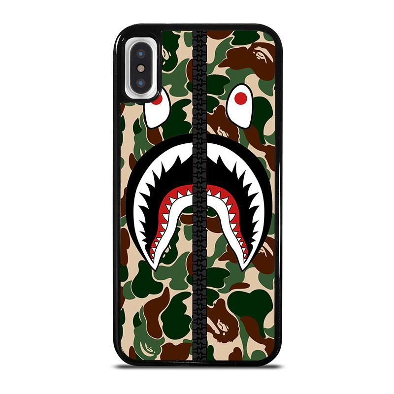 Bape shark camo zip iphone x xs case cover casing