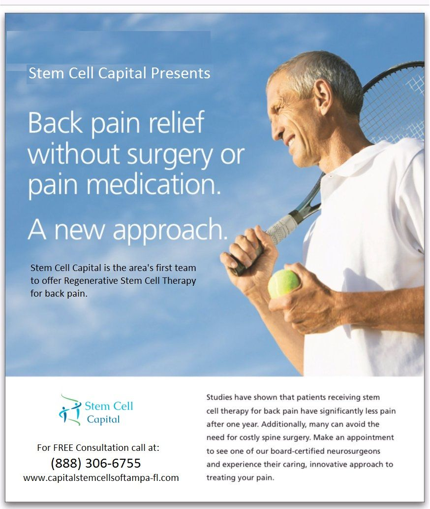 Back Pain Relief is now possible with Stem Cell Therapy