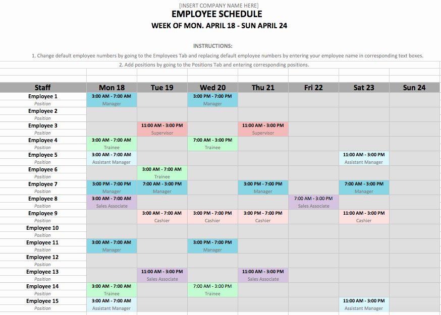 Employee Shift Schedule Template Schedule Template Shift