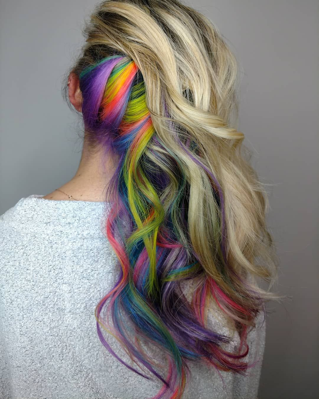 Blonde Balayage Ombre Paired With Neons Neon Hair Neon Hair
