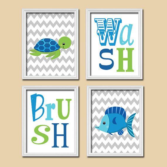 Nautical Wash Brush Boy Ocean Sea Blue Green Fish Turtle Cute Set of