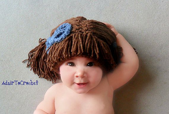 Cabbage Patch Wig Hat With Attached Bow. Hand por AdairToCrochet