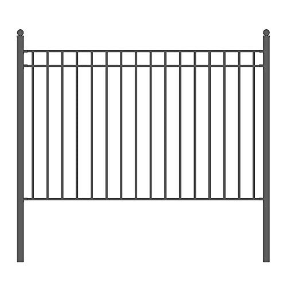 Aleko Madrid 5 Ft X 8 Ft Black Iron Fence Panel Fencemad Hd
