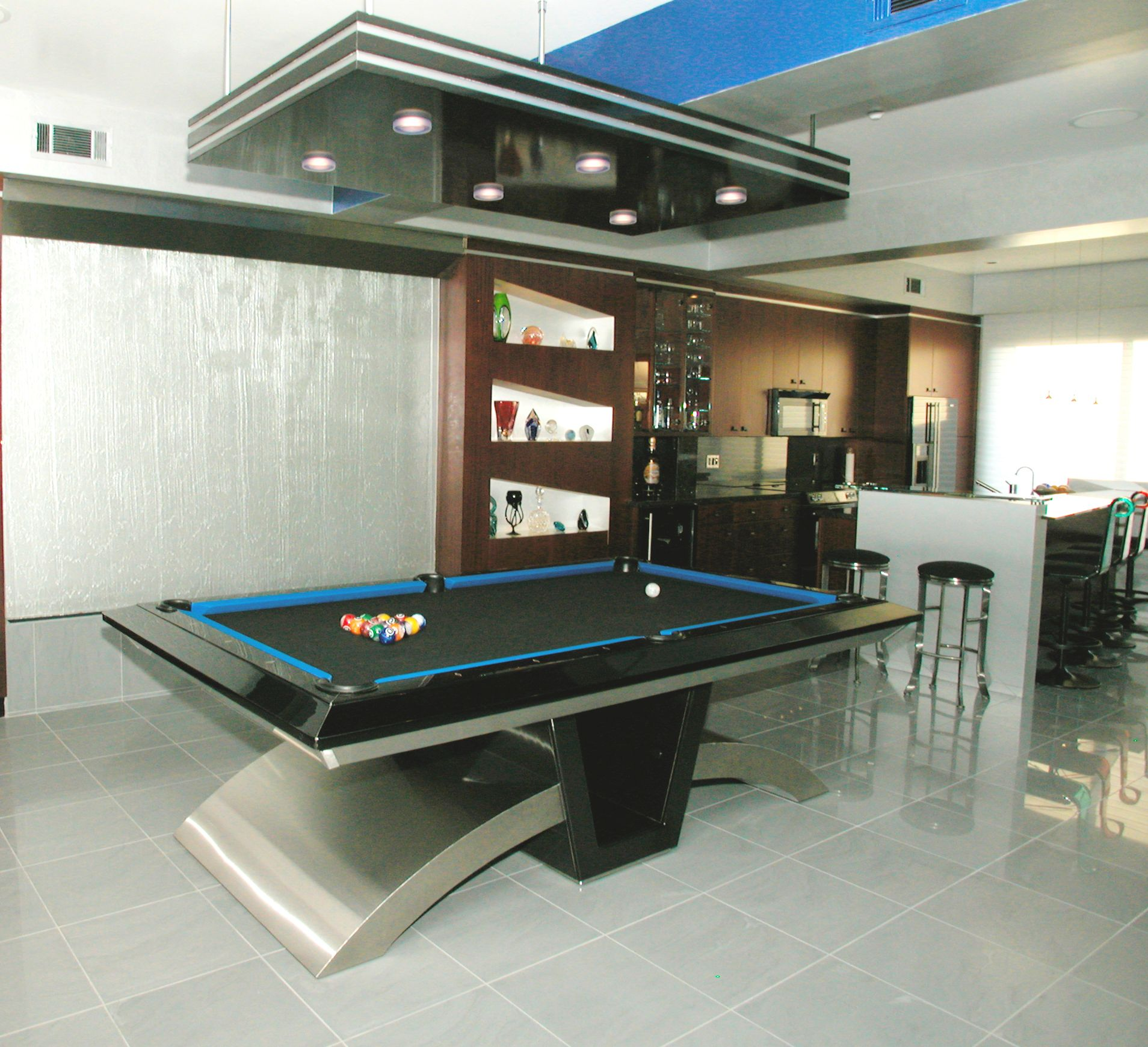 4e713ad39b Waterfall behind Stainless Steel Pool table designed by Nancyhugo ...