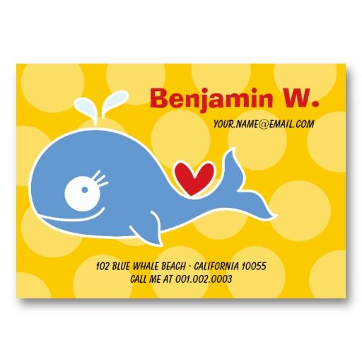 Cartoon Blue Whale Kid Photo Profile Name Card Business Card By - Kid business card template