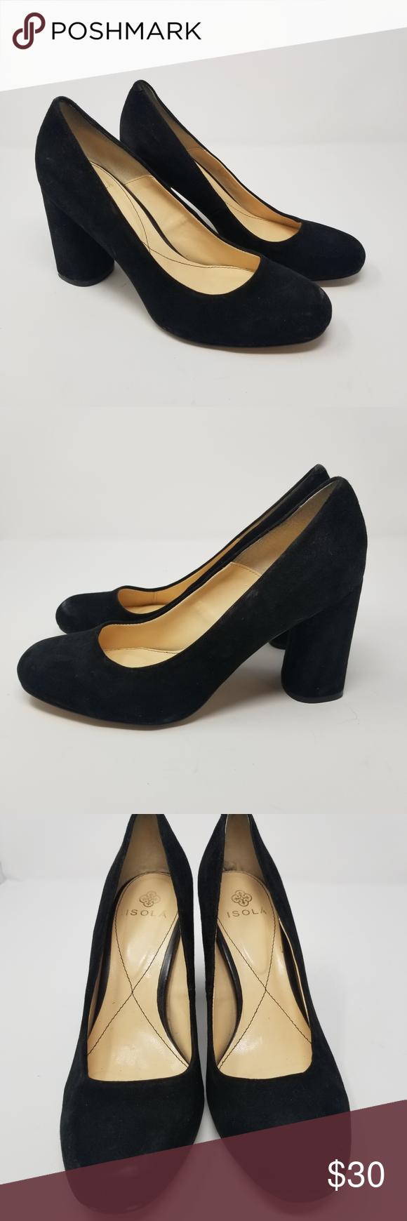 Isola Elaine Black Suede Round Toe Block Heels In 2020 Heels Shoes Women Heels Black Suede