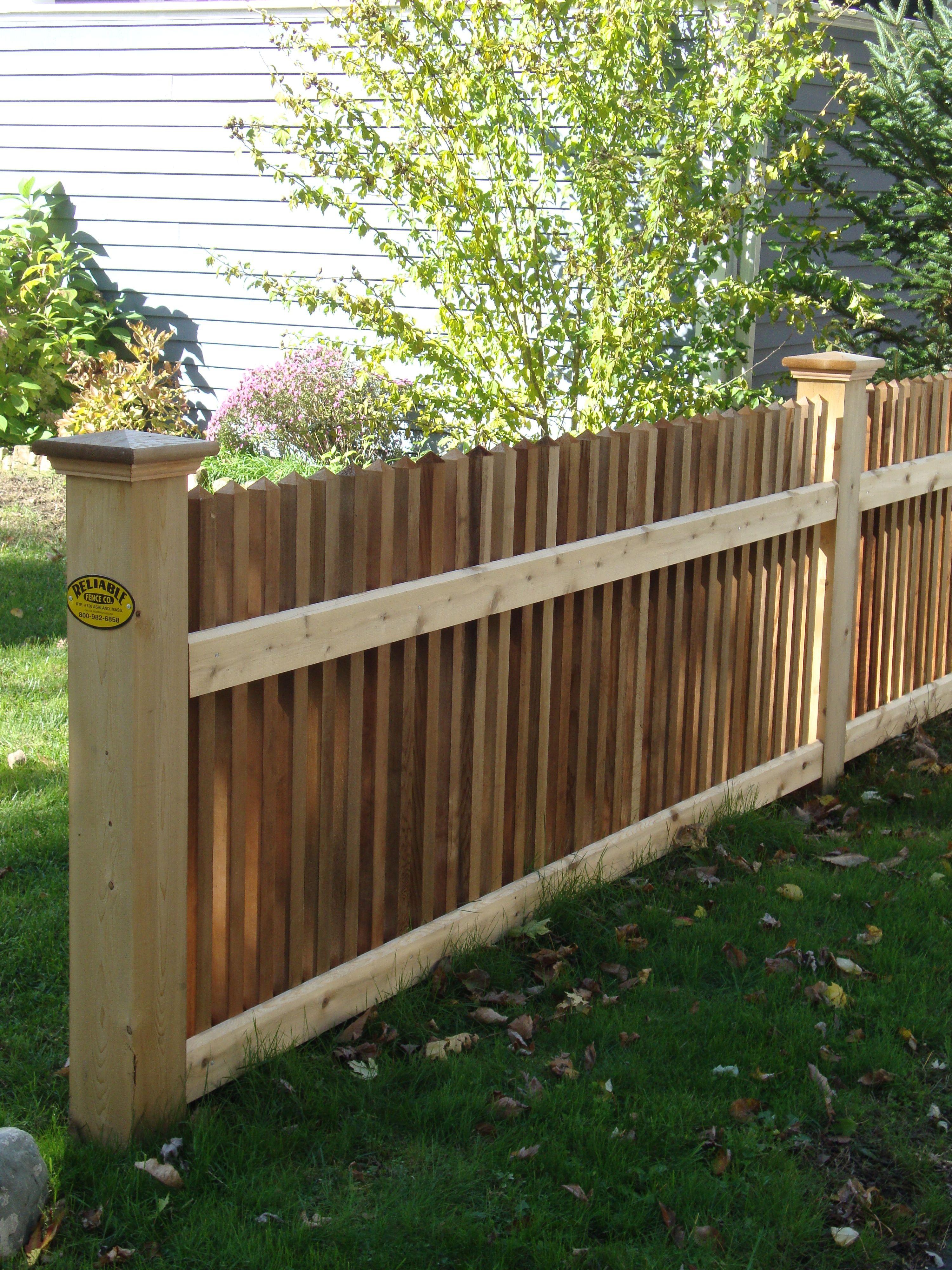 Cedar Spoke Style Fence Backyard Fences Wood Fence Design Fence Landscaping