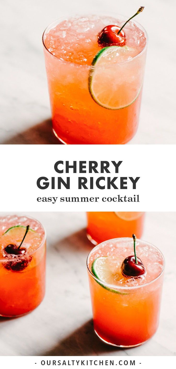 Cherry Gin Rickey Summer Cocktail - Our Salty Kitchen