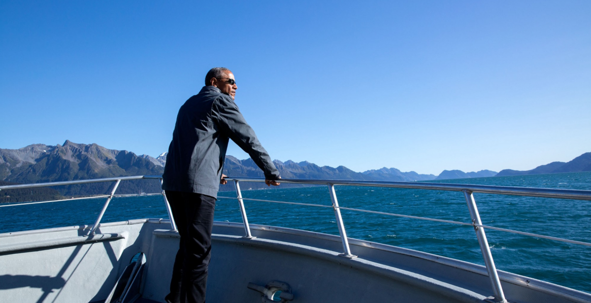 Sept. 1, 2015: The President tours Kenai Fjords National Park by boat. The trip to Alaska may have been the best domestic trip of his Presidency. Being on a boat on a picturesque day certainly helped.   ..rh