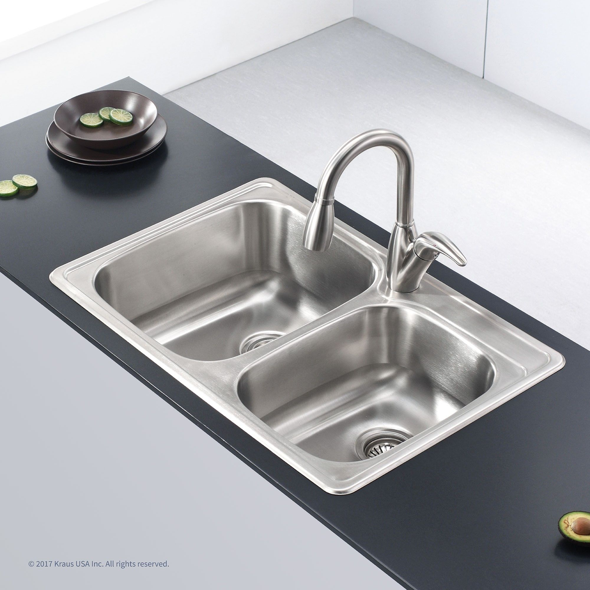 Stainless steel x double basin drop in kitchen sink kraus