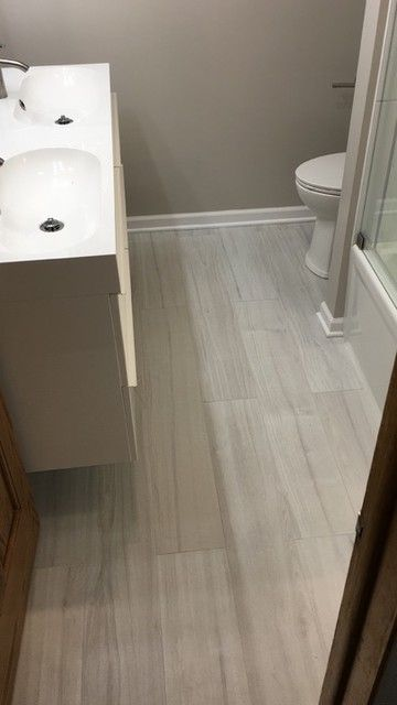 For A Rich, Rustic Look Thatu0027s Sure To Warm Your Bathroom Space, Feature  This Creamy Grey Wood Look Tile On Your Bathroom Floor   Atelier Nacar  Ceramic Wood ...
