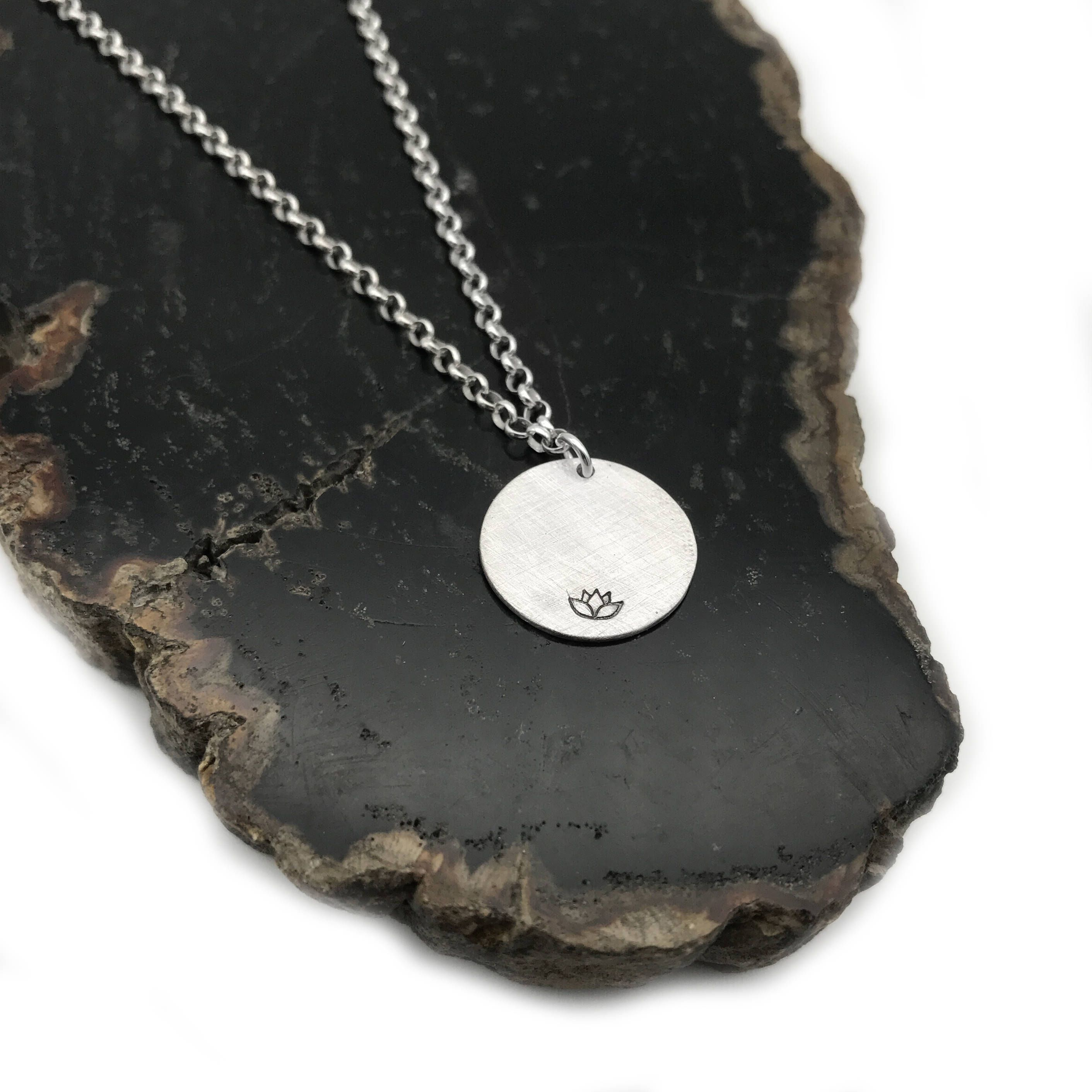 Silver Lotus Necklace Yoga Necklace Round Silver Necklace With
