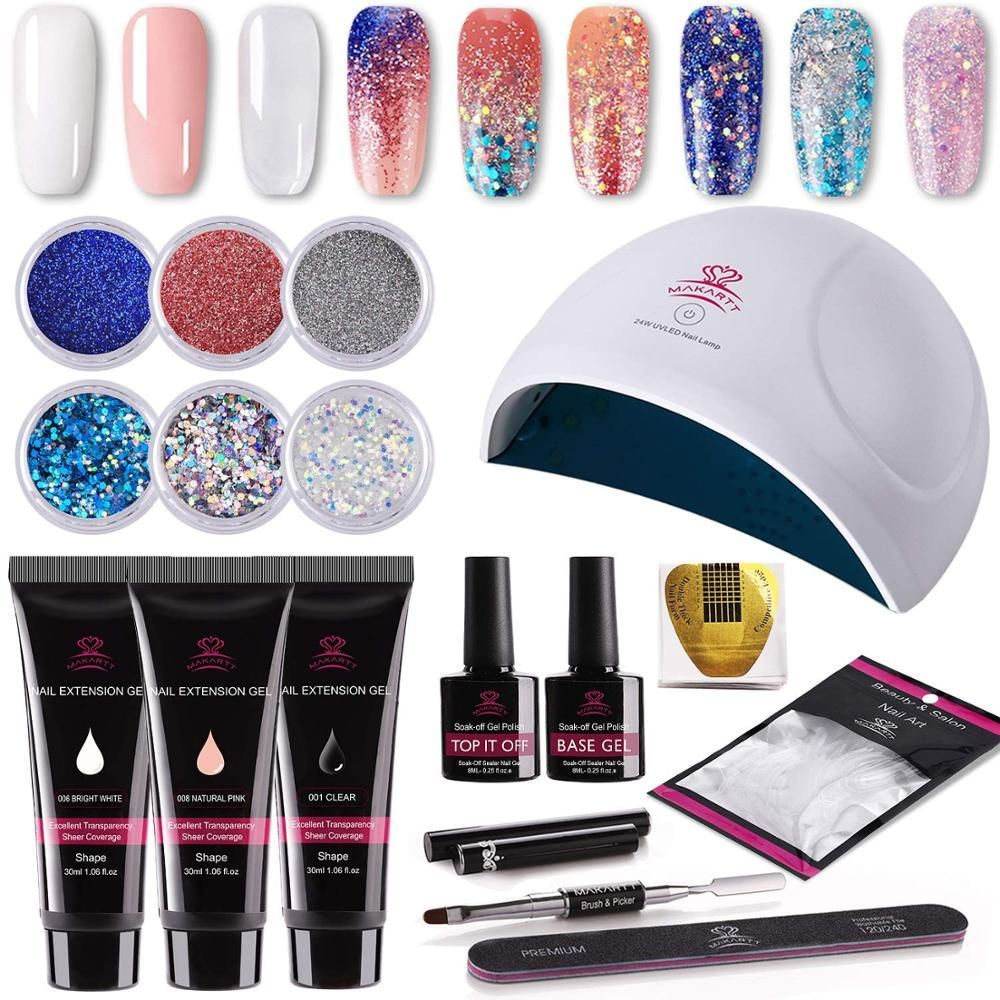 16pcs Nail Extension Gel Starter Kit With Images Gel Nails Nail Enhancement Fast Nail