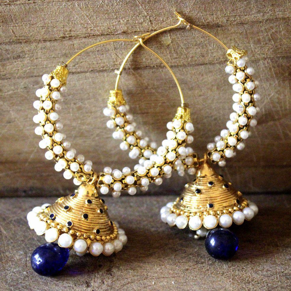 Ethnic Bollywood Fashion Indian Gold Tone Faux Pearl Bali Jhumki Polki Earring Traditional Jewellery AD60O0Os