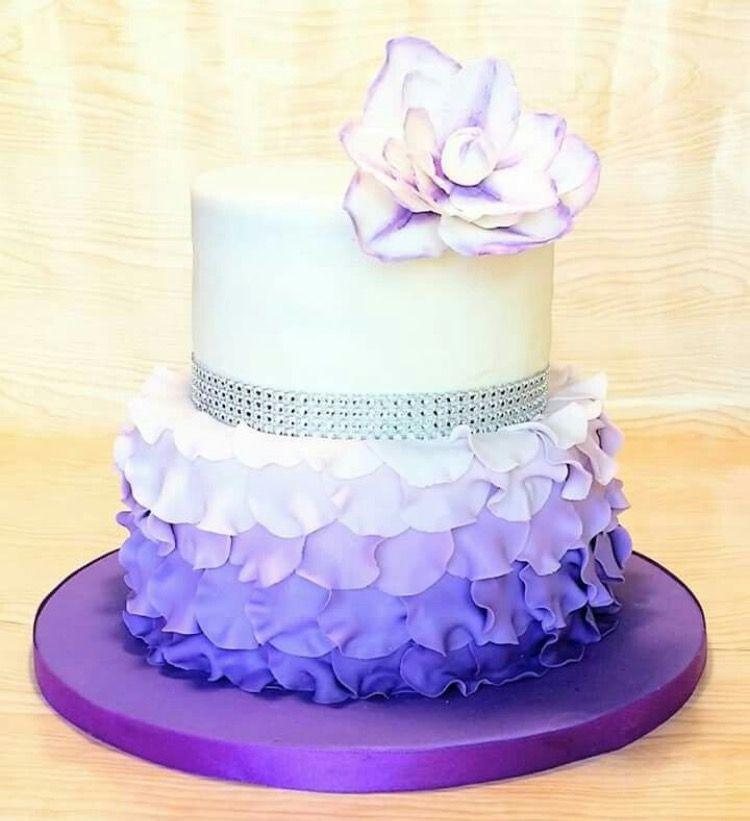 Amazing Purple And White Ruffle Cake With Bling Birthday Cake Girls Personalised Birthday Cards Arneslily Jamesorg