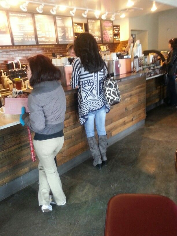 Creepin on this girl's sweater at Starbucks.
