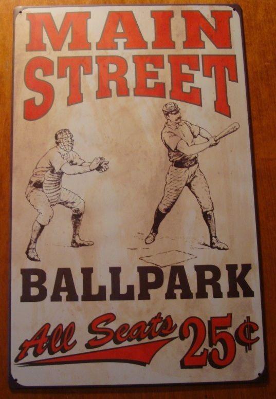 Retro Main Street Ball Park Vintage Style Baseball Tin Sign Sports Bar Decor New Sports Bar Decor Bar Decor Vintage Style Decorating