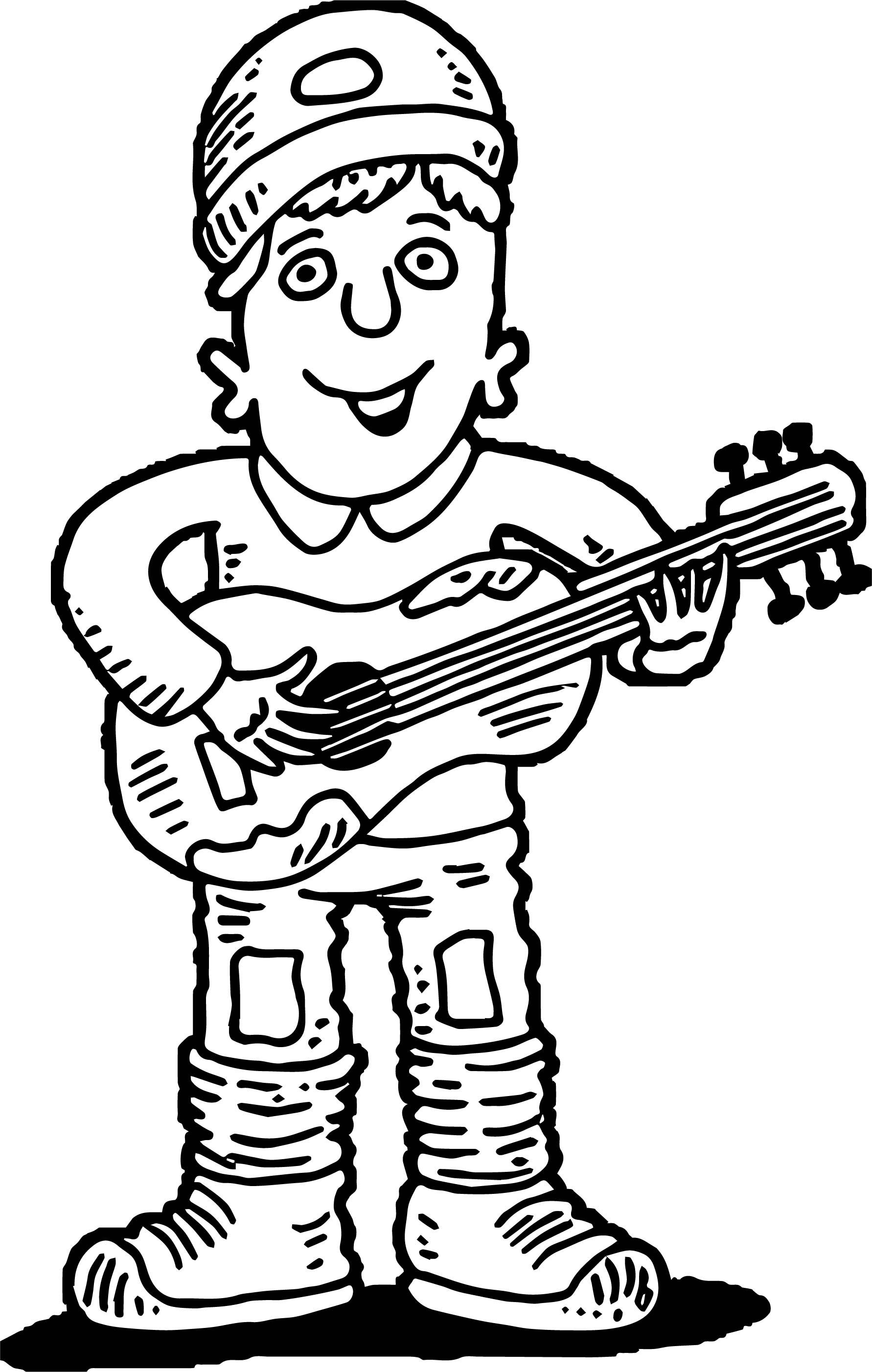 Awesome Guitar Player Playing The Guitar Coloring Page Guitar