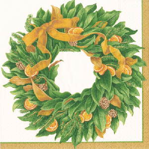 Photo of Caspari Magnificent Magnolia Wreath Paper Lunch Servietten Bulk 14840L
