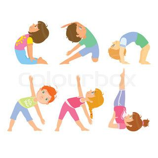 kids doing simple yoga poses bright color cartoon childish