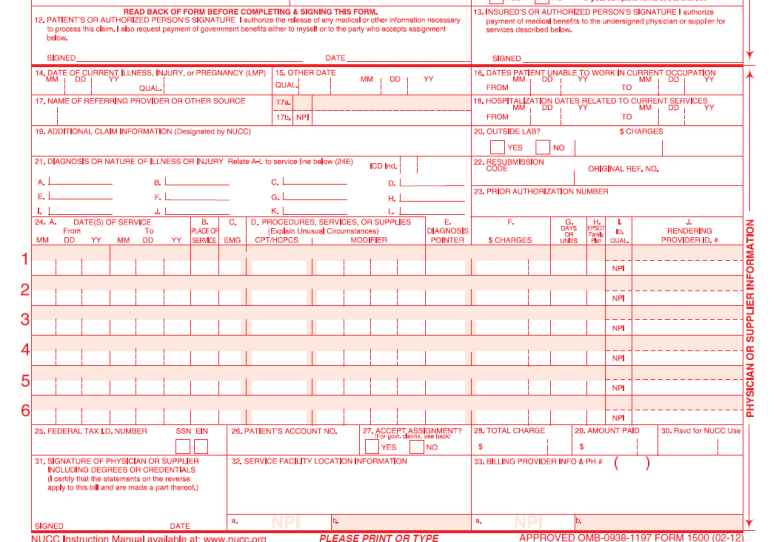 Sample New Cms 1500 Claim Form Cms 1500 Claim And Ub 04 Form
