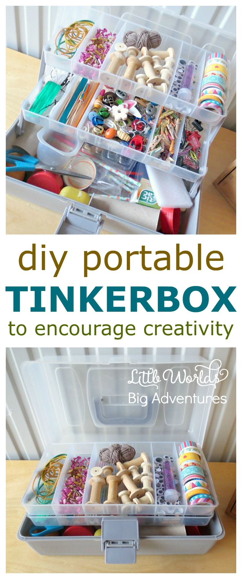 How to Put Together a Portable Tinker Box for Creative Play | Little Worlds Big Adventures