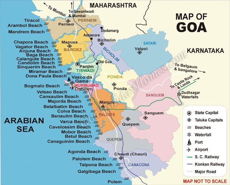 Map of goa beaches india pinterest goa beach and india map of goa beaches gumiabroncs Images