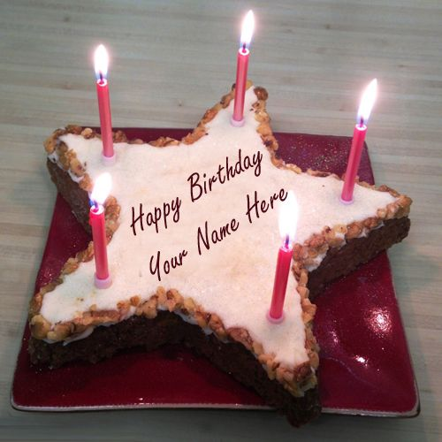 Write Your Name On Star Cake Online Free Happy Birthday Cakes