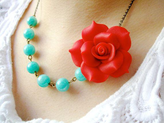 Statement NecklaceBridesmaid Jewelry SetRed Flower by RachelleD