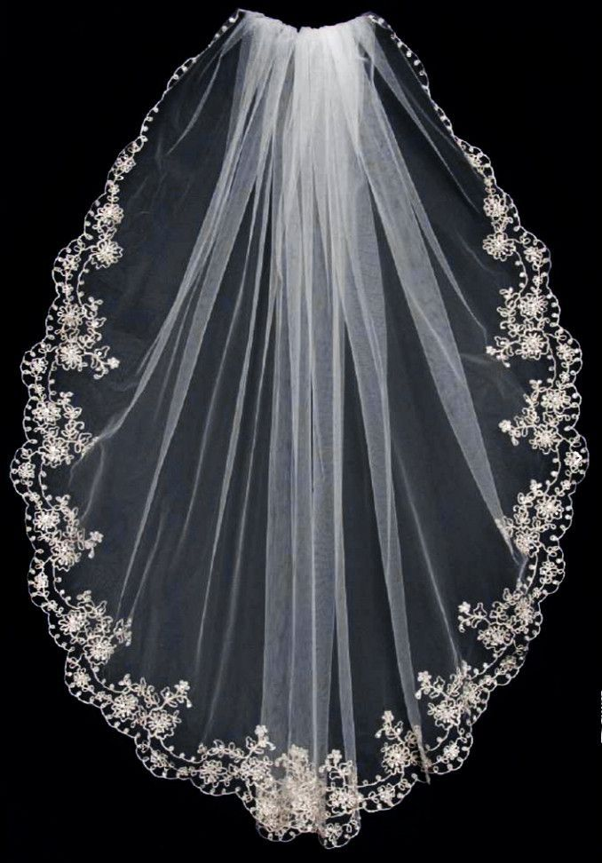 pewter embroidered bridal veil