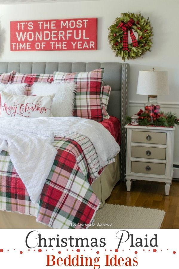 christmas plaid bedding ideas christmas bedroom with red white plaid bedding for under 100