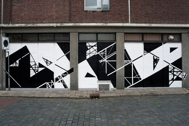 Subwalk Exterior Painting Wallpainting Black And White Geometric Street Art Mural Graphicsurgery Diagonal